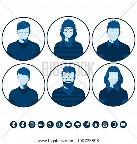 Male and female silhouettes for user profile picture. Flat vector avatars with men and women in casual clothing.