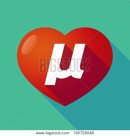 Long Shadow Heart With  A Micro Sign, Mu Greek Letter