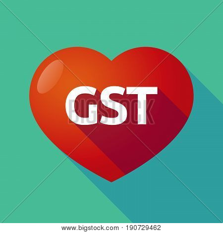 Long Shadow Heart With  The Goods And Service Tax Acronym Gst