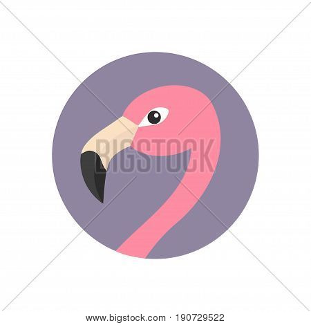 Pink flamingo head face with long neck. Round circle icon. Exotic tropical bird. Zoo animal collection. Cute cartoon character. Decoration element. Flat design. White background. Isolated. Vector