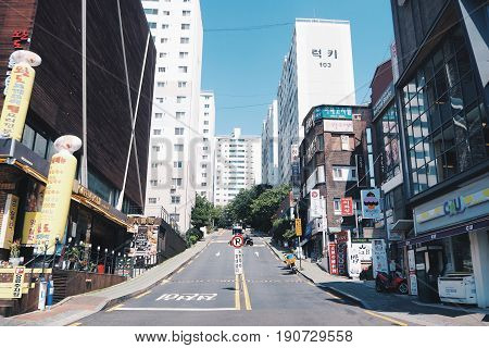 Seoul , South Korea - May 26 2017 - Ewha Womans University Fashion Street - Shopping.