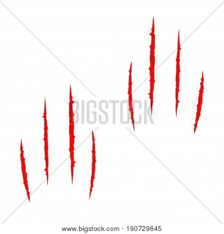 Two red bloody claws animal scratch scrape track set. Cat tiger scratches paw. Four nails trace. Funny element. Flat design. White background. Isolated. Vector illustration