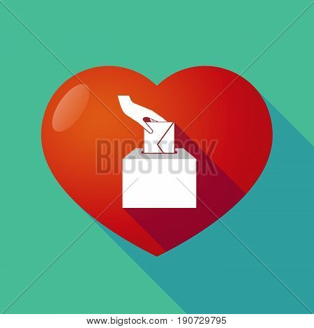 Long Shadow Heart With  A Hand Inserting An Envelope In A Ballot Box