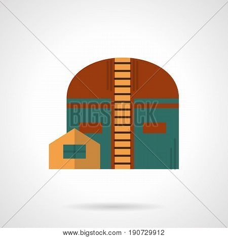 Abstract symbol of factory storage facility. Industrial buildings and architecture. Flat color style vector icon.
