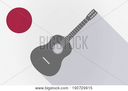 Long Shadow Japan Flag With  A Six String Acoustic Guitar