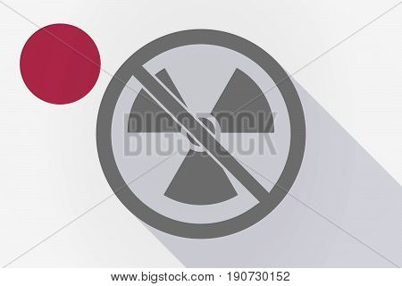 Long Shadow Japan Flag With  A Radioactivity Sign  In A Not Allowed Signal
