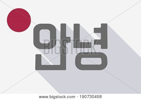 Long Shadow Japan Flag With  The Text Hello In The Korean  Language