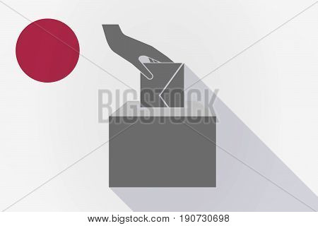 Long Shadow Japan Flag With  A Hand Inserting An Envelope In A Ballot Box