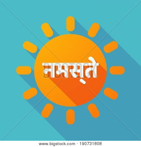 Long Shadow Sun With  The Text Hello In The Hindi Language