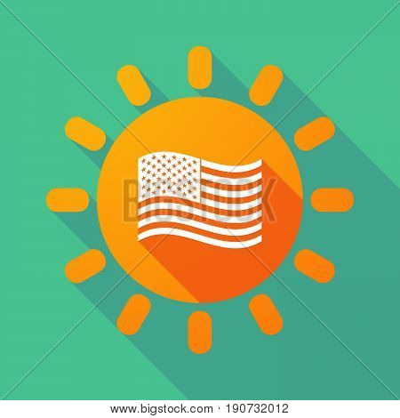 Long Shadow Sun With  The Unites States Of America Waving Flag