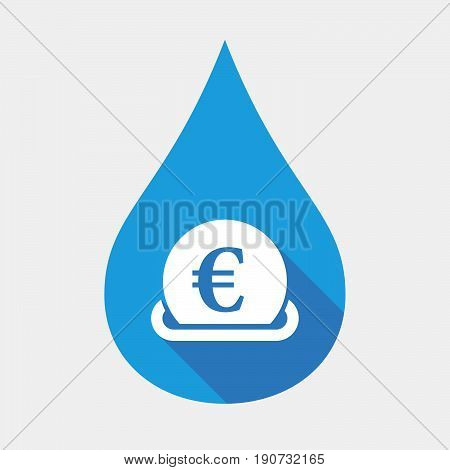Isolated Water Drop With  An Euro Bank Note