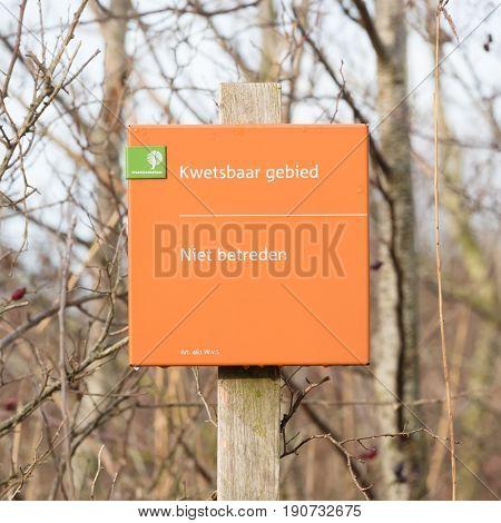 Lauwersoog; Tourist Sign Saying 'no Entry (niet Betreden)'