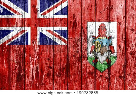 Flag of Bermuda painted on wooden frame
