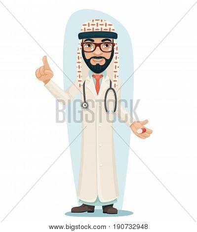 Quality Treatment Arab Keffiyeh Traditional National Muslim Clothes Male Doctor Pill Medicine Hand Forefinger up Cartoon Character Design Vector Illustration