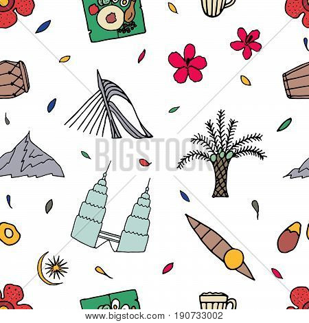 Culture Of Malaysia Hand Drawn Seamless Pattern.