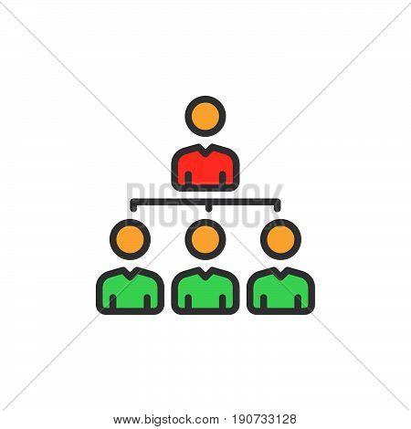 Manager organization chart filled outline icon colorful vector sign Symbol logo illustration