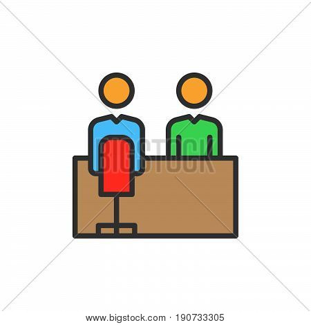 Job interview filled outline icon colorful vector sign Symbol logo illustration