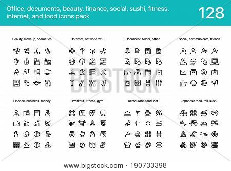 128 Office, documents, beauty, finance, social, sushi, fitness, internet, and food flat line icons pack