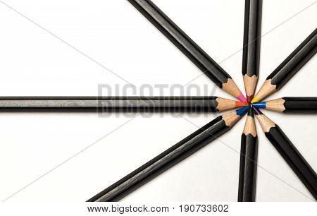 Multi colored black colored pencil pinwheel background