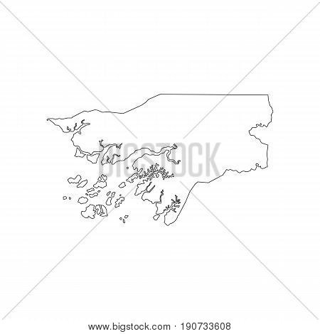Guinea-Bissau map silhouette illustration on the white background. Vector illustration