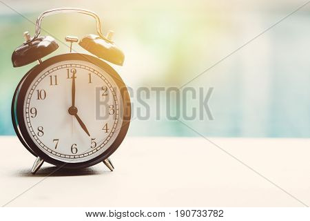 5 O'clock Retro Clock At The Swimming Pool Outdoor Relax Time Holiday Time Concept.