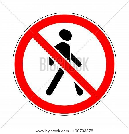 Illustration of Road Prohibitory Sign No Pedestrians