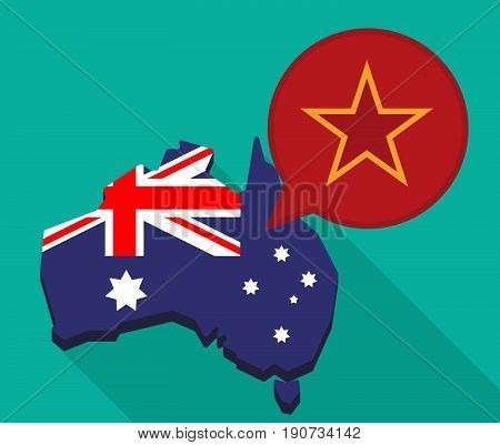 Long Shadow Australia Map With  The Red Star Of Communism Icon