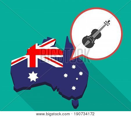 Long Shadow Australia Map With  A Violin