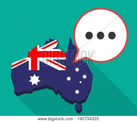Long Shadow Australia Map With  An Ellipsis Orthographic Sign