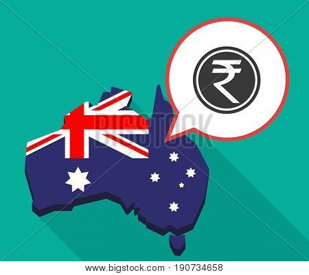 Long Shadow Australia Map With  A Rupee Coin Icon