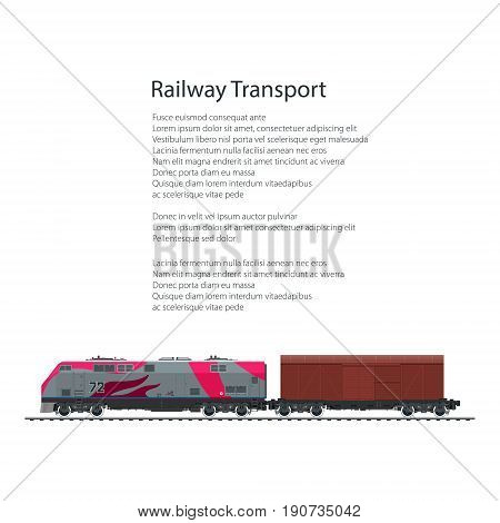 Brochure Locomotive with Closed Wagon , Cargo Train Isolated on White Background and Text, Rail Freight , Poster Flyer Design, Vector Illustration