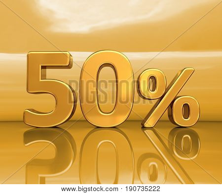 3d render: Gold 50%, Fifty Percent Discount Sign