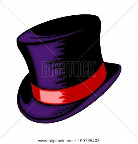 Classic hat with a red ribbon. The gentleman's headgear.