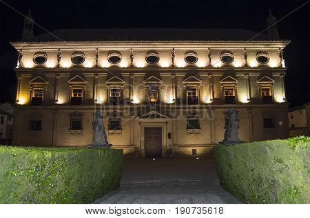 Vazquez de Molina Palace (Palace of the Chains) at night Ubeda Spain
