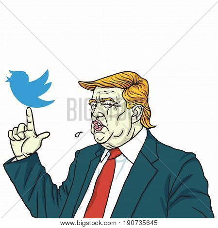 Donald Trump and Social Media Communication. Vector Cartoon. June 10, 2017