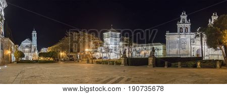 Vazquez Molina Square at night Ubeda Spain