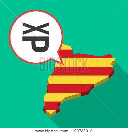 Long Shadow Catalonia Map With  A Tongue Sticking Text Face Emoticon