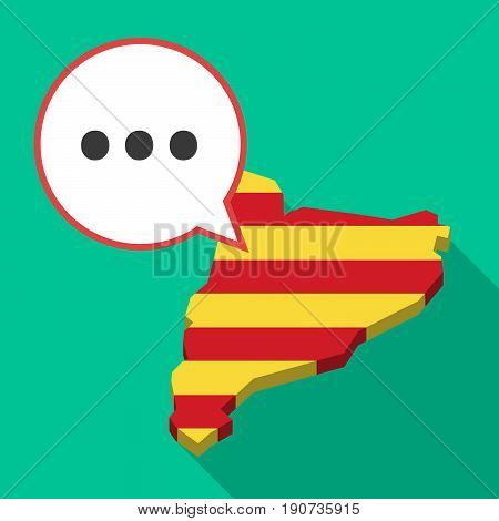 Long Shadow Catalonia Map With  An Ellipsis Orthographic Sign