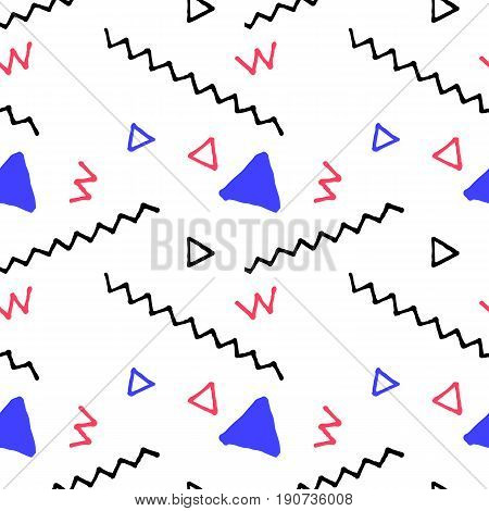 Doodle seamless pattern in nautical palette. Vector pattern in nautical colors. Child drawing vector pattern. Abstract handdrawn geometric shapes on white background. Clean nautical wrapping paper