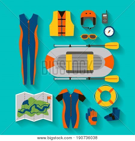 Set of equipment for sports and outdoor activities flat design. Boat, clothes, compass and map for rafting. For website, print and advertising, vector illustration