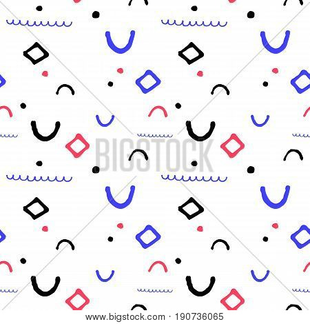 Simple geometric vector seamless pattern in nautical palette. Seamless pattern in nautical colors. Child drawing vector pattern. Abstract blue wave on white background. Nautical summer wrapping paper