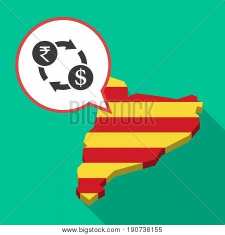 Long Shadow Catalonia Map With  A Rupee And Dollar Exchange Sign