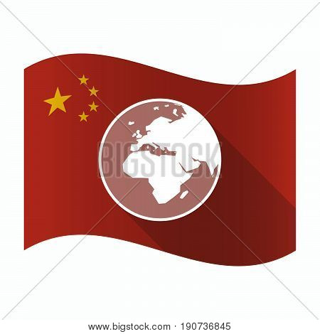 Waving China Flag With   An Asia, Africa And Europe Regions World Globe