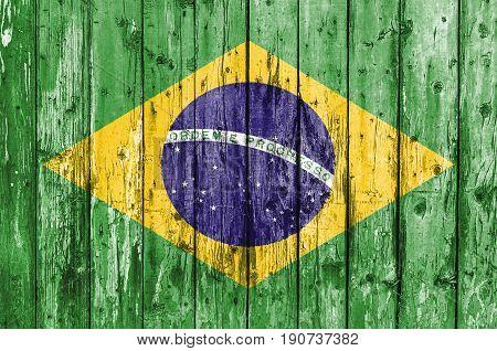 Flag of Brasil painted on wooden frame