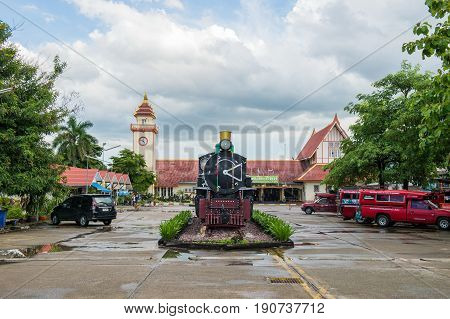CHIANGMAI THAILAND - JULY 04 2017: Old steam locomotive no.340 of State railway of Thailand. at Chiangmai train stationNorth in Thailand.