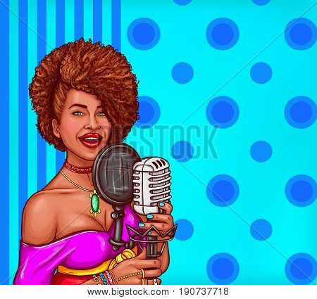 Vector pop art illustration of a black woman singer holding a microphone. Afro-American diva star sings in vintage microphone