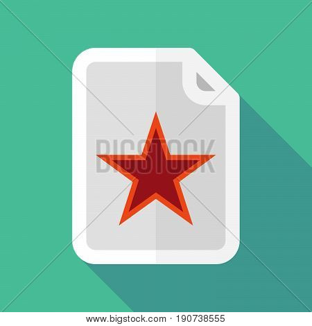 Long Shadow Document With  The Red Star Of Communism Icon