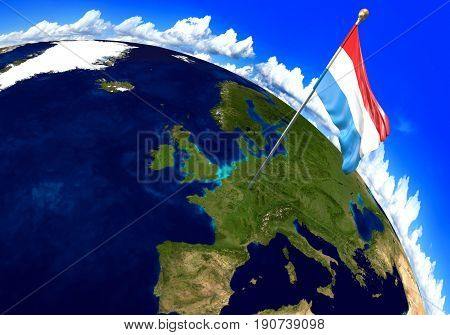 Luxembourg national flag marking the country location on world map. 3D rendering, parts of this image furnished by NASA