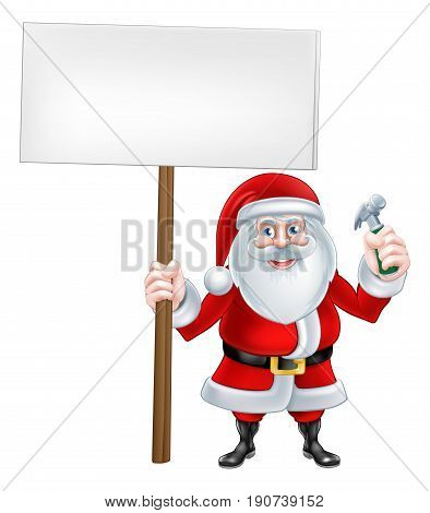 A Christmas cartoon illustration of Santa Claus holding a hammer and sign