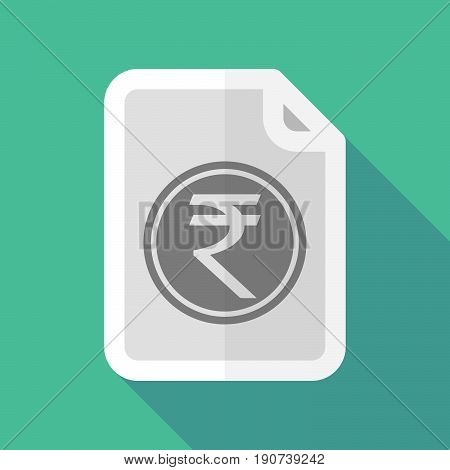 Long Shadow Document With  A Rupee Coin Icon